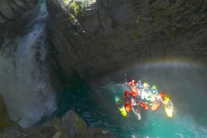 This could be your kayak group celebrating Claro's 22 Saltos canyon.